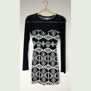 Long sleeve black and white party dress